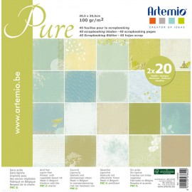 Papier scrapbooking assortiment pure 2x20fe