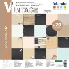 Papier scrapbooking assortiment vintage 2x20fe
