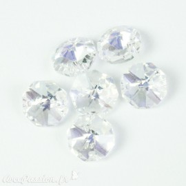 Boutons Swarovski octogone crystal AB