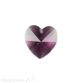 Perle forme coeur Swarovski parme 15 mm