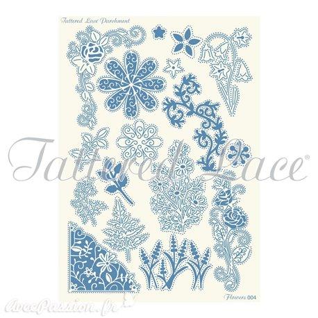 Grille parchemin Tattered Lace Parchment fleurs 04
