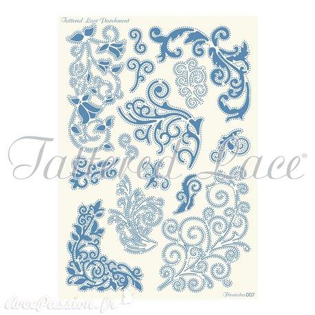 Grille parchemin Tattered Lace Parchment arabesques 07