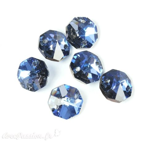 Boutons Swarovski octogone crystal AB bleu
