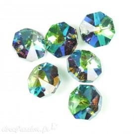 Bouton Swarovski octogone crystal AB vert