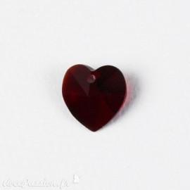 Perles forme coeur Swarovski rouge 15 mm