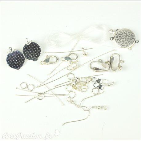 Apprêt Kit accessoires argent pour création de bijoux