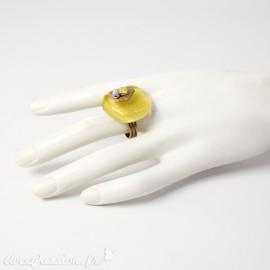 Bague fantaisie Nathalie Borderie en verre jaune