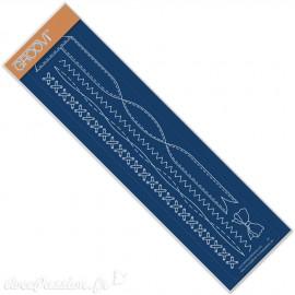 Règle tracage bordures Groovi pour Pergamano noeud points en croix