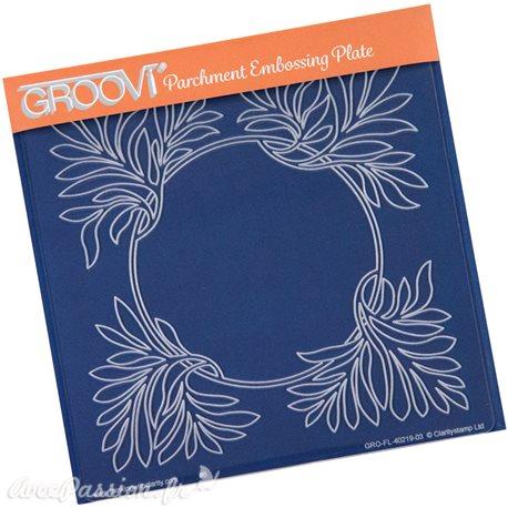 Gabarit tracage du parchemin cadre fleuri Groovi