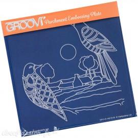 Gabarit tracage du parchemin oiseaux et paysage Groovi