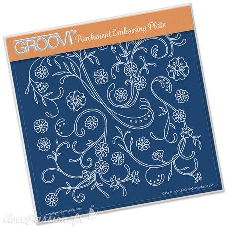 Gabarit tracage du parchemin lianes fleuries Groovi