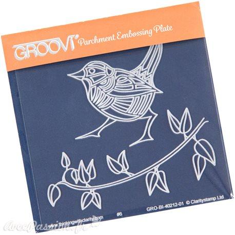 Petit gabarit tracage du parchemin roitelet et feuilles Groovi
