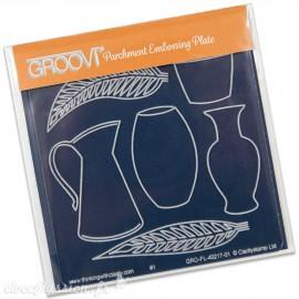 Petit gabarit tracage du parchemin vases et feuilles Groovi