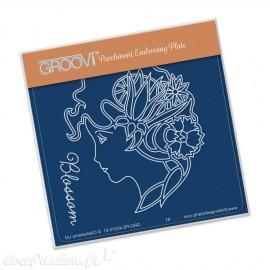 Petit gabarit tracage du parchemin cameo blossom Groovi