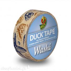 Masking tape mer coquillages bleu et beige papier adhésif washi