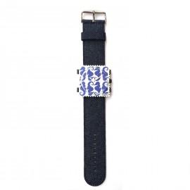 Montre Stamps bracelet de montre bleu denim