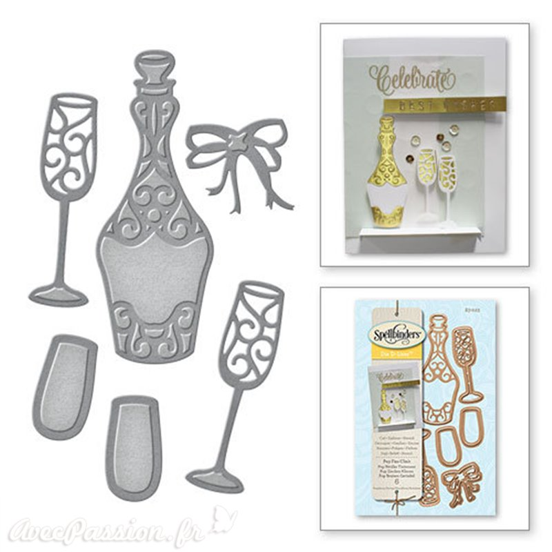 dies d coupe scrapbooking spellbinders champagne bouteille verre. Black Bedroom Furniture Sets. Home Design Ideas