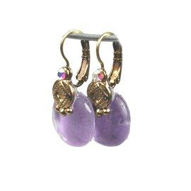 Boucles d'oreilles violet oreilles percées Nathalie Borderie