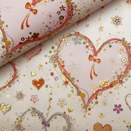 Papier Turnowsky motifs coeurs rehaussé de doré