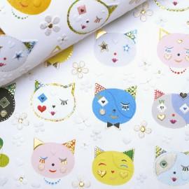 Papier Turnowsky motifs têtes de chats rehaussé de doré