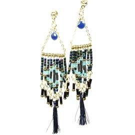 Boucles d'oreilles pendantes Hippie Chic perles bleu Charlotte & Alexandre