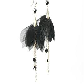 Boucles d'oreilles pendantes Hippie Chic voile noir Charlotte & Alexandre