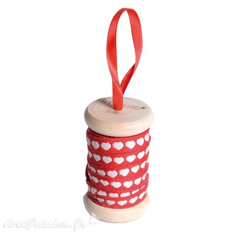 Ruban en bobine tissu coeur blanc sur rouge 1cmx5m