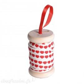 Ruban en bobine tissu coeur rouge fond  blanc 1cmx5m