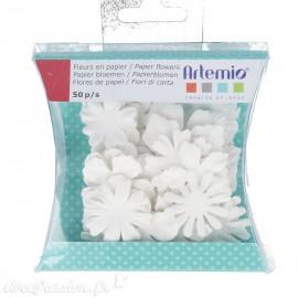Fleurs en papier blanc Embellissement Artemio 2 à 4cm