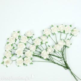 Mini roses déco fleurs en papier blanc