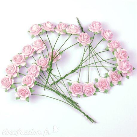 Mini roses déco fleurs en papier rose