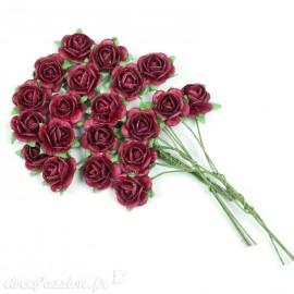 Mini roses déco fleurs en papier bordeaux