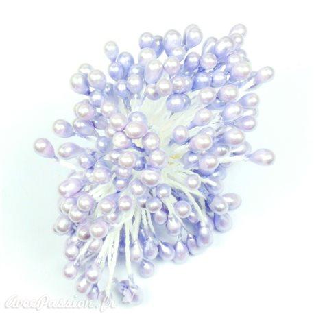 Pistils Etamines pour coeurs de fleurs lilas nacré 5mm