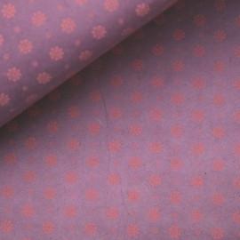 Papier népalais lokta fleurs mate violet et corail