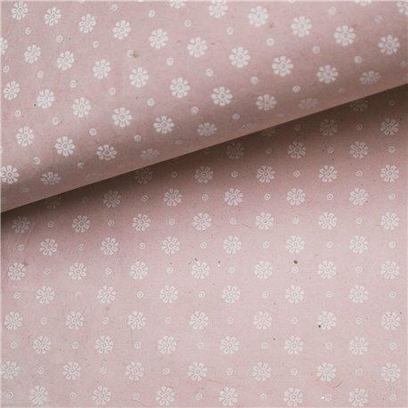 Papier népalais lokta fleurs mate rose et blanc