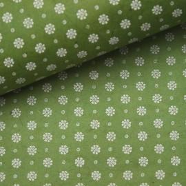Papier népalais lokta fleurs mate vert et blanc