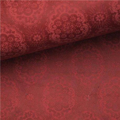 Papier népalais lokta fleurs harmonie rouges