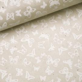 Papier népalais lokta papillon naturel et blanc
