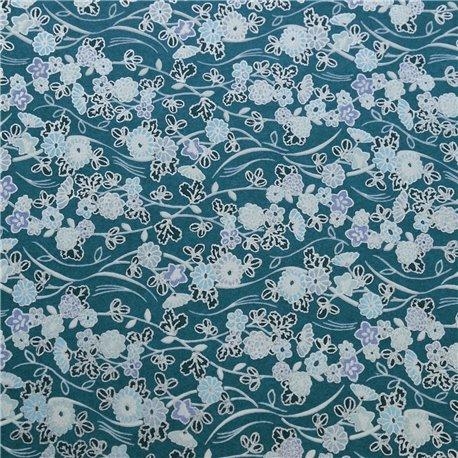 Papier japonais washi prairie fond bleu parme argent