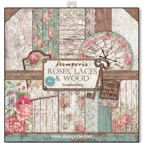 Papier scrapbooking assortiment roses dentelle et bois 10f recto verso