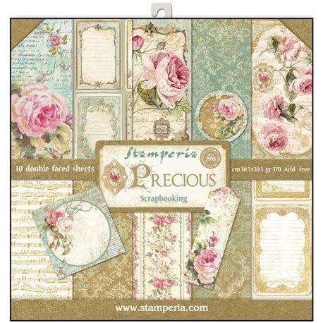 Papier scrapbooking assortiment roses 10f recto verso