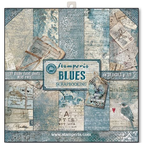 Papier scrapbooking assortiment blues 10f recto verso