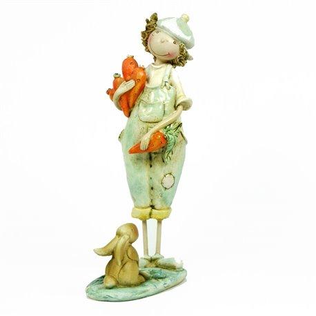 Objet décoration romantique statuette fillette lapin