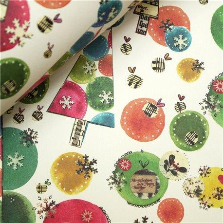 Papier tassotti motifs noel boules multicolores