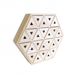 Objet en bois brut calendrier de l'avent hexagonal
