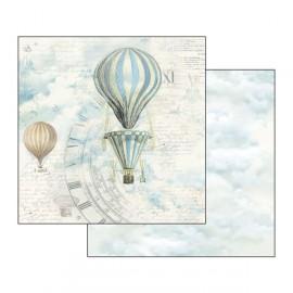 Papier scrapbooking réversible montgolfière azur
