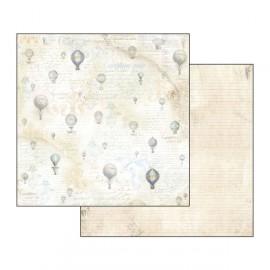 Papier scrapbooking réversible texture montgolfière