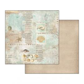 Papier scrapbooking réversible Stamperia coquilles de mer 30x30