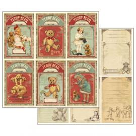 Papier scrapbooking réversible carte nounours