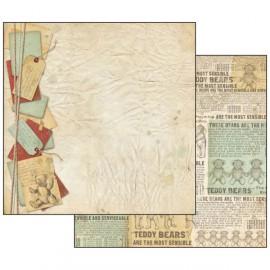 Papier scrapbooking réversible nounours journal 30x30